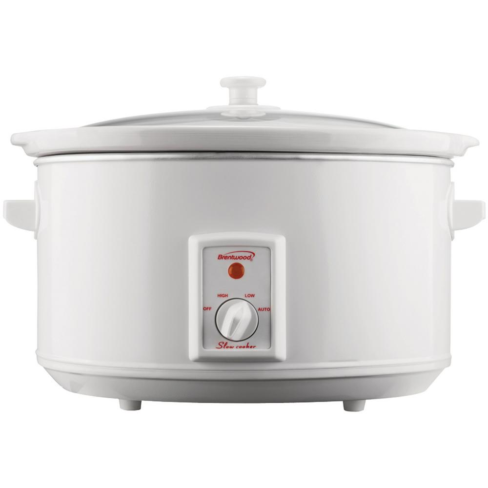 Brentwood Appliances 8 Qt. White Slow Cooker The Brentwood 8-Quart Slow Cooker features a metal body with a removable ceramic pot and glass lid. With an elegant white finish, this slow cooker will look at home on any kitchen countertop. The 3 heat setting ensure a well-cooked meal in the amount of time you have.