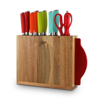 12-Piece Solid Multicolor Cutlery Set with Knife Block