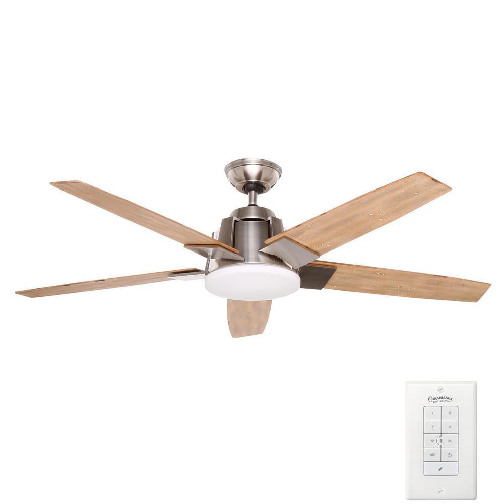 Zudio 56 in. Indoor Brushed Nickel Ceiling Fan with Universal Wall Control