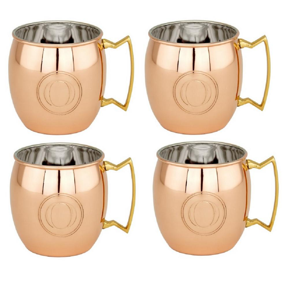 16 oz. Solid Copper Moscow Mule Mugs and Monogram O (Set