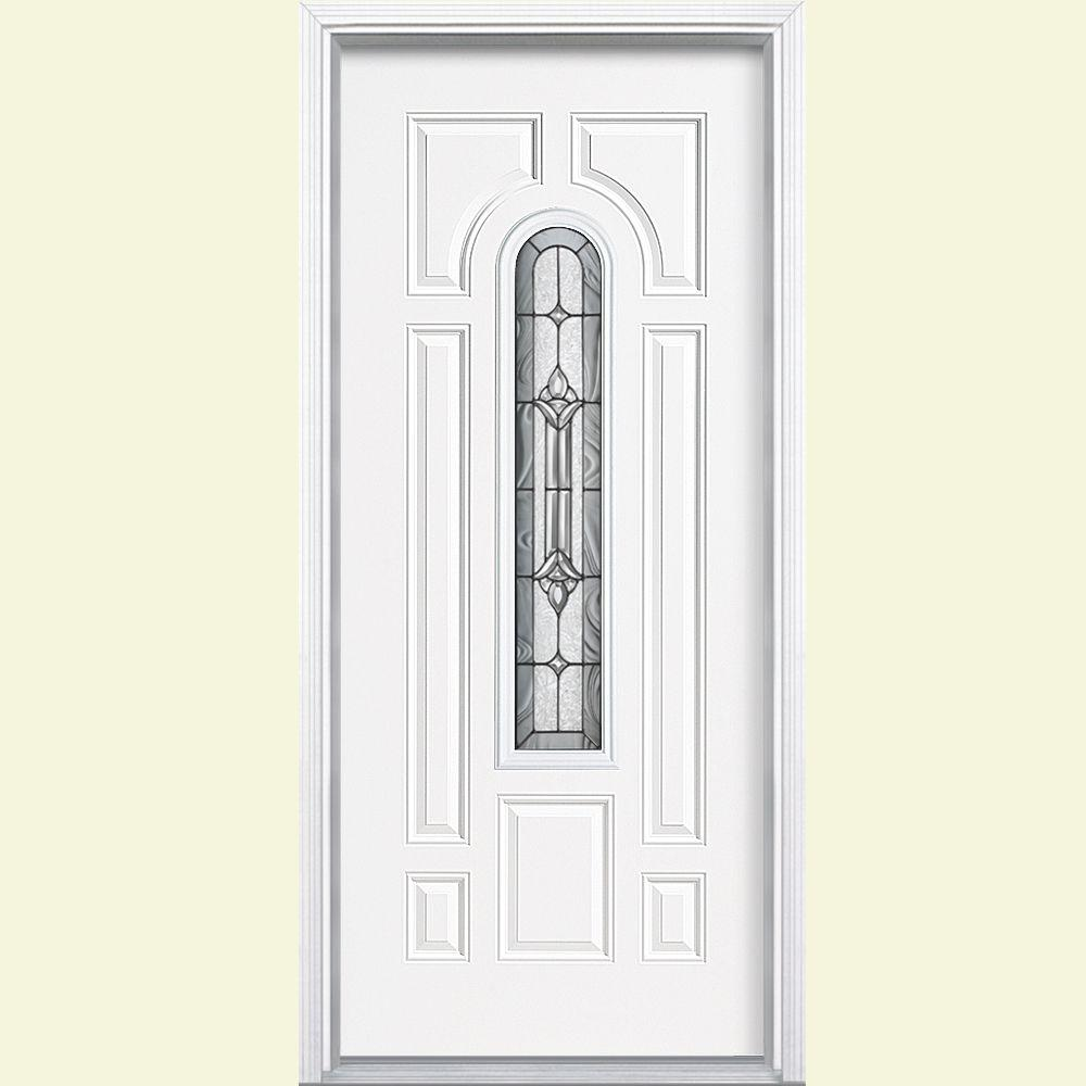 Masonite 36 in. x 80 in. Providence Center Arch Right-Hand Inswing Primed Steel Prehung Front Door with Brickmold, Vinyl Frame