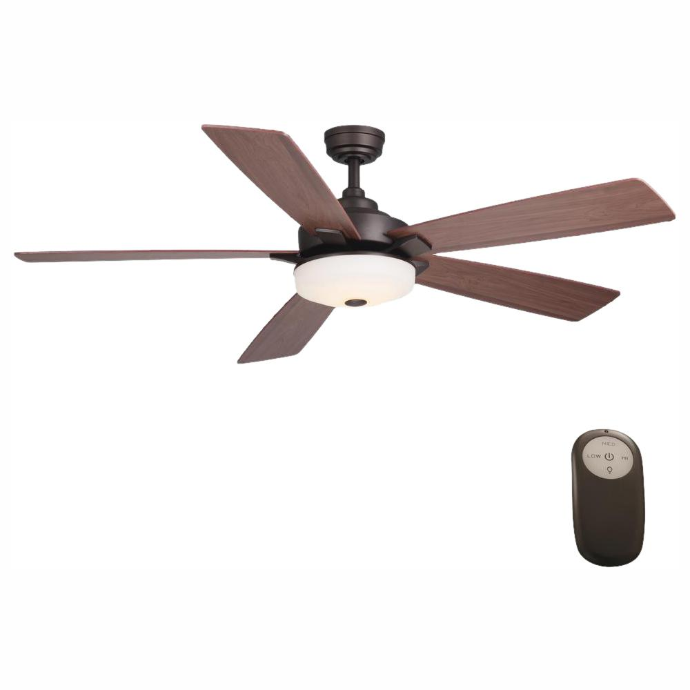 Home Decorators Collection Cameron 54 in. Integrated LED Indoor Oil Rubbed Bronze Ceiling Fan with Light Kit and Remote Control