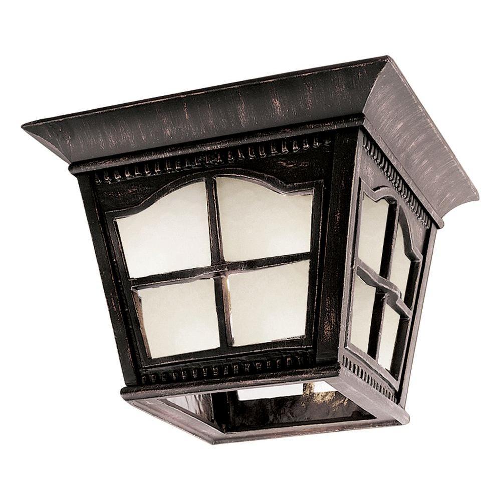 Bel Air Lighting Stewart 1-Light Outdoor Antique Rust CFL Flush Mount