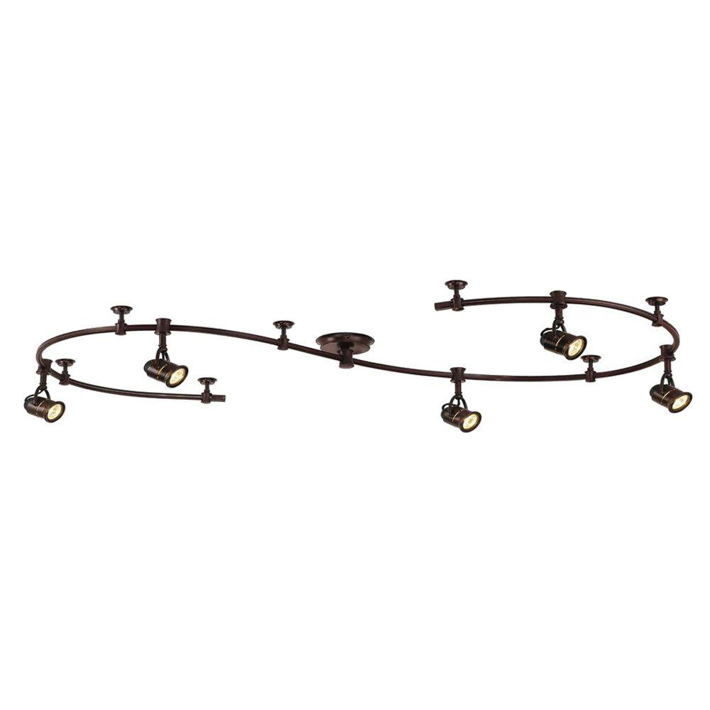 5 Light Antique Bronze Retro Pinhole Flexible Track Lighting Kit