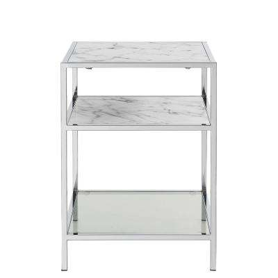 Gold Coast Carrara Faux Marble with Glass and Chrome End Table