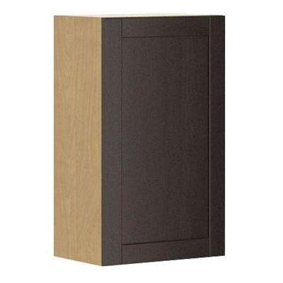 Ready to Assemble 18x30x12.5 in. Barcelona Wall Cabinet in Maple Melamine and Door in Dark Brown