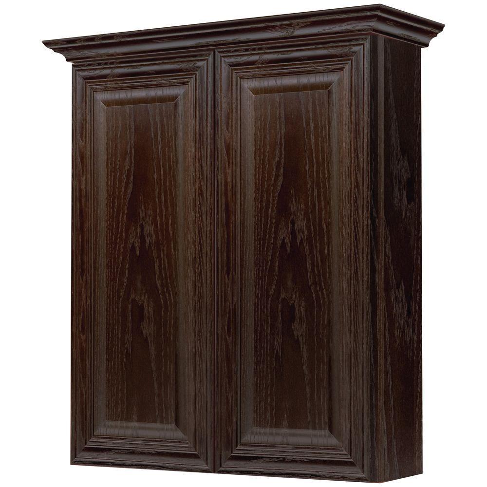 MasterBath Raised Panel 24 in. W Bath Storage Cabinet in Java Oak