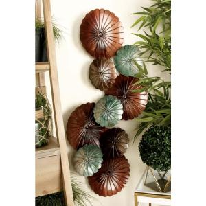 44 inch x 20 inch Updated Traditional Variegated Botanical Wall Decor in Blue, Russet and Brown by