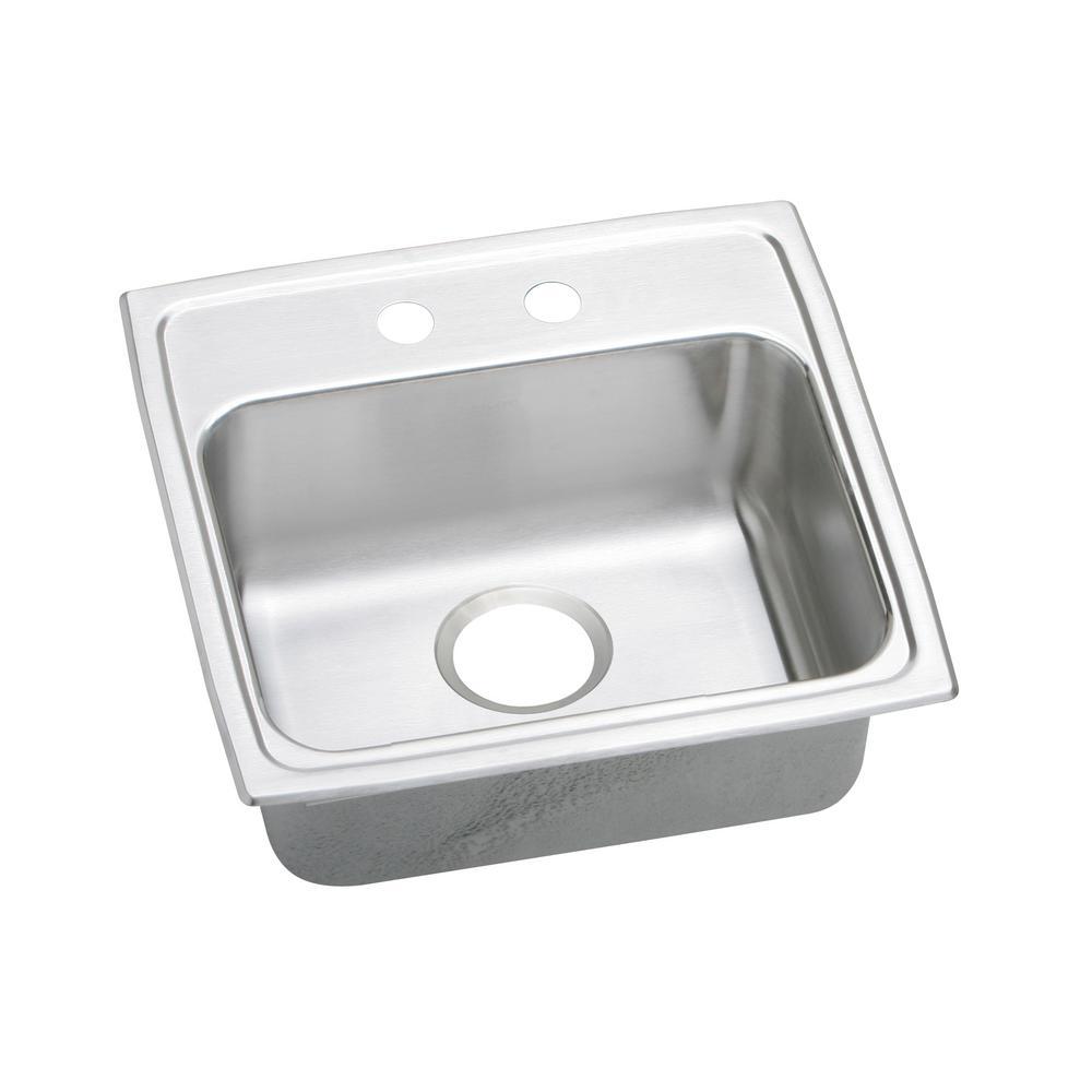 Lustertone Drop-In Stainless Steel 19 in. 2-Hole Single Basin Kitchen Sink
