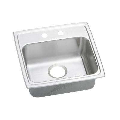 Lustertone Drop-In Stainless Steel 19 in. 2-Hole Single Bowl ADA Compliant Kitchen Sink with 6.5 in. Bowl
