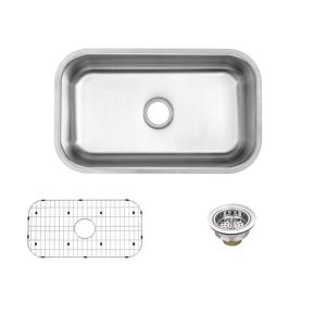 Undermount 16-Gauge Stainless Steel 30 in. 0-Hole Single Bowl Kitchen Sink with Grid and Drain Assemblies
