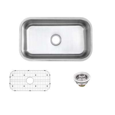 Undermount 16-Gauge Stainless Steel 30 in. Single Bowl Kitchen Sink with Grid and Drain Assemblies