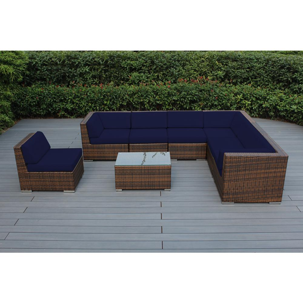 Ohana Depot Mixed Brown 8-Piece Wicker Patio Seating Set with Sunbrella Navy Cushions