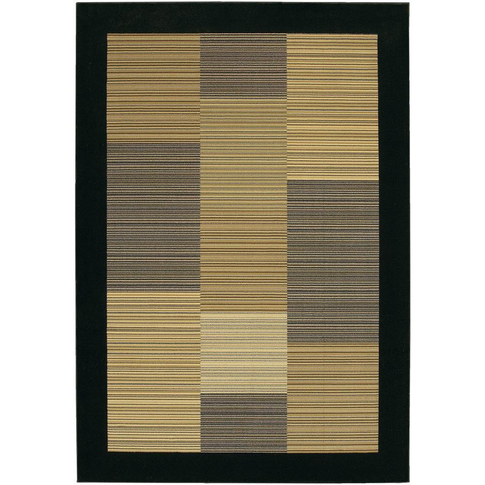 Everest Hamptons Multi Stripe-Black 2 ft. x 4 ft. Area Rug