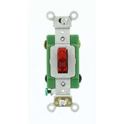 30 Amp Industrial Grade Heavy Duty Double-Pole Pilot Light Toggle Switch, Red