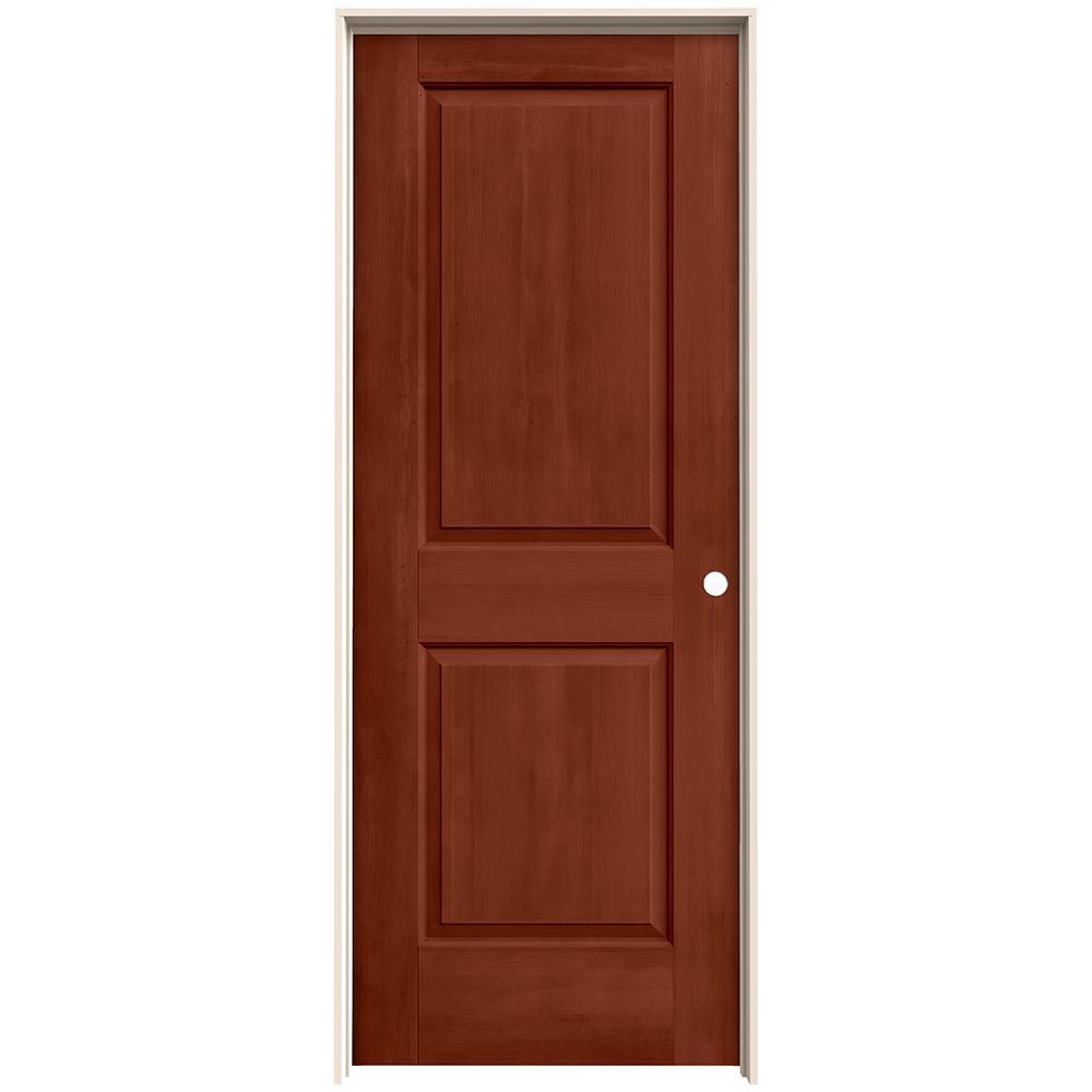 30 in. x 80 in. Cambridge Amaretto Stain Left-Hand Molded Composite MDF Single Prehung Interior Door