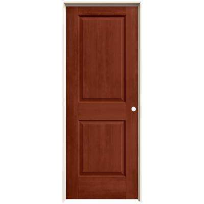 30 in. x 80 in. Cambridge Amaretto Stain Left-Hand Solid Core Molded Composite MDF Single Prehung Interior Door