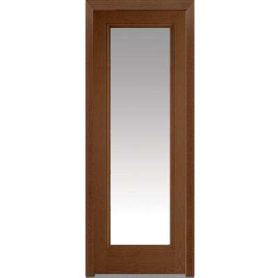 36 in. x 96 in. Classic Left-Hand Inswing Full Lite Clear Stained Fiberglass Oak Prehung Front Door