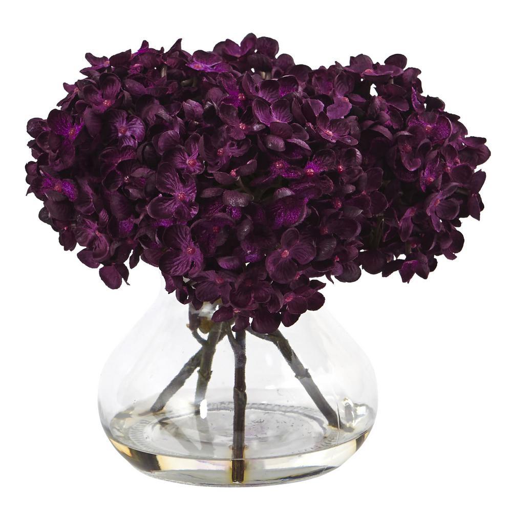 Nearly Natural Hydrangea with Vase Silk Flower Arrangement 1439-PP