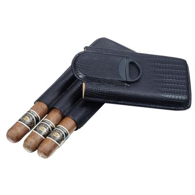 Granada Black Leather 3 Finger Cigar Case with Cigar Cutter