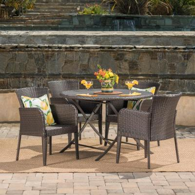 Jefferson Multi-Brown 5-Piece Wicker Round Outdoor Dining Set with Foldable Table
