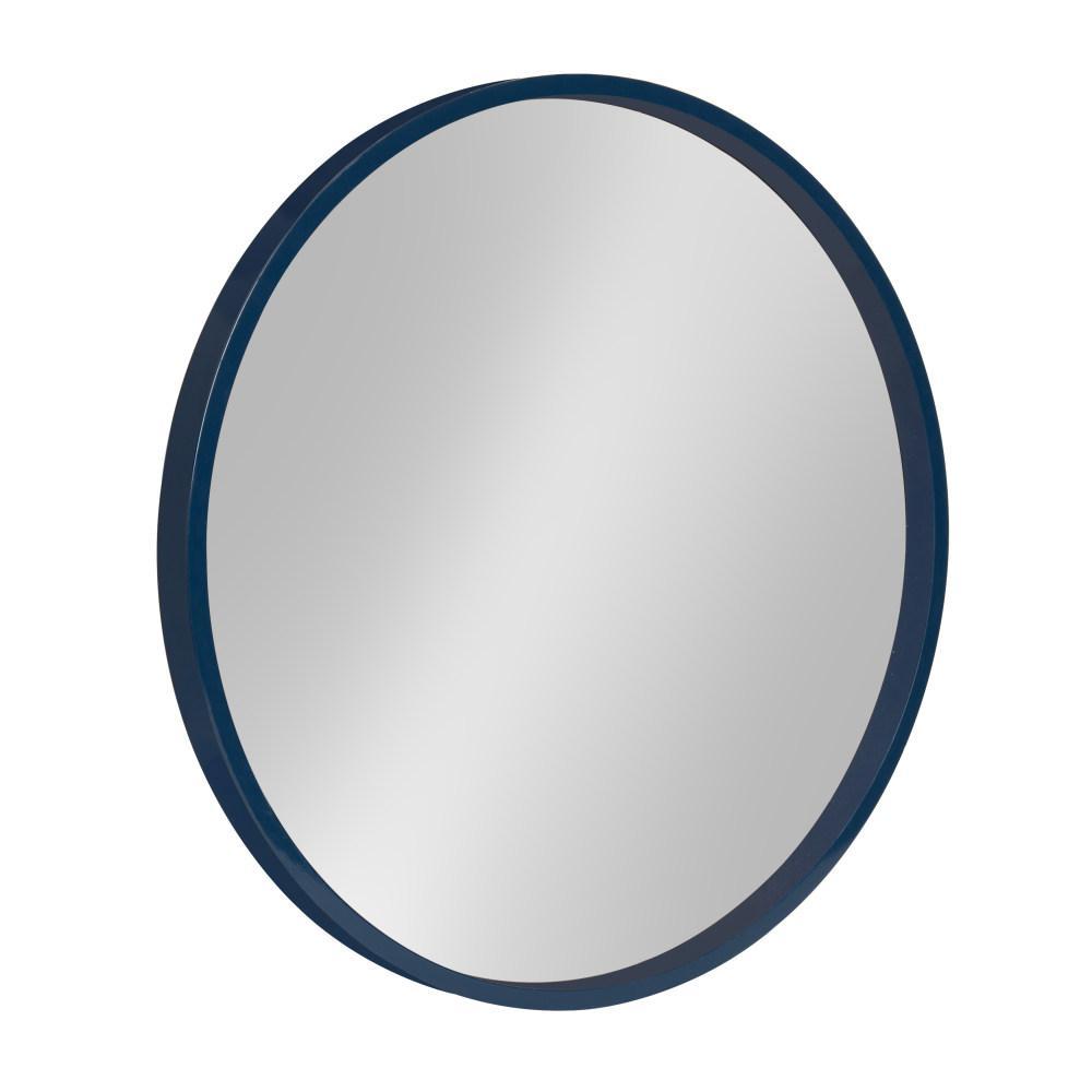 Medium Round Navy Blue Contemporary Mirror (21.6 in. H x 21.6 in. W)