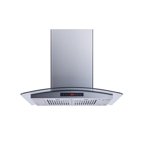 Winflo 30 In Convertible 520 Cfm Island Mount Range Hood In Stainless Steel Glass With Baffle Filters Ir001b30d The Home Depot