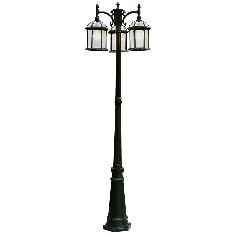 Bel Air Lighting Cabernet Collection 3 Light 79 in. Outdoor Black Copper Pole Lantern with Clear Beveled Shade