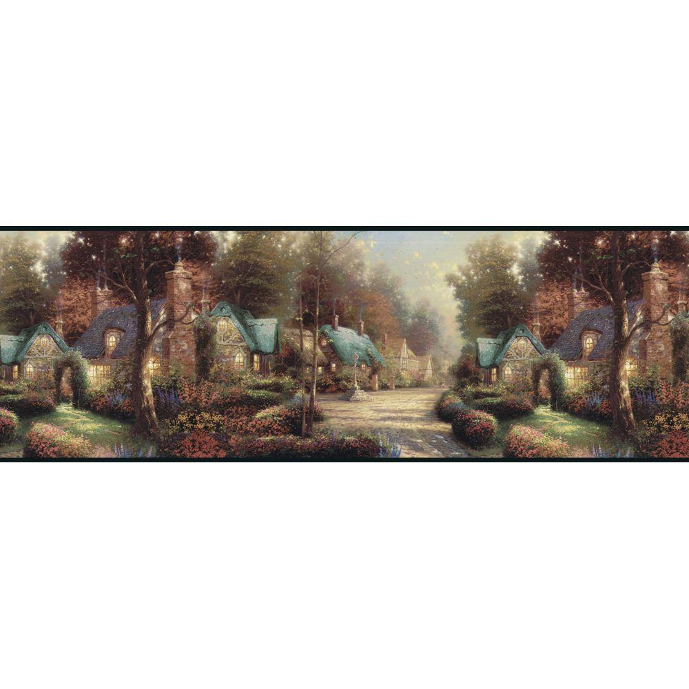 The Wallpaper Company 10.25 in. x 15 ft. Jewel Tone Cobblestone Cottage Border