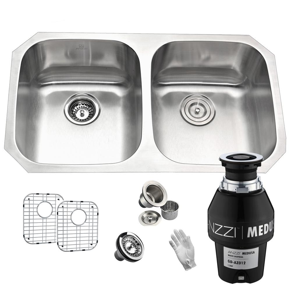 Anzzi Moore Undermount Stainless Steel 32 In 50 50 Double Bowl Kitchen Sink With Medusa Series