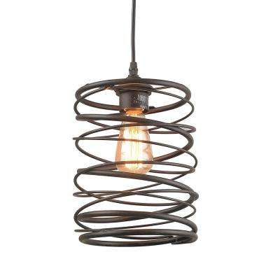 1-Light Bronze Contemporary Rust Pendant