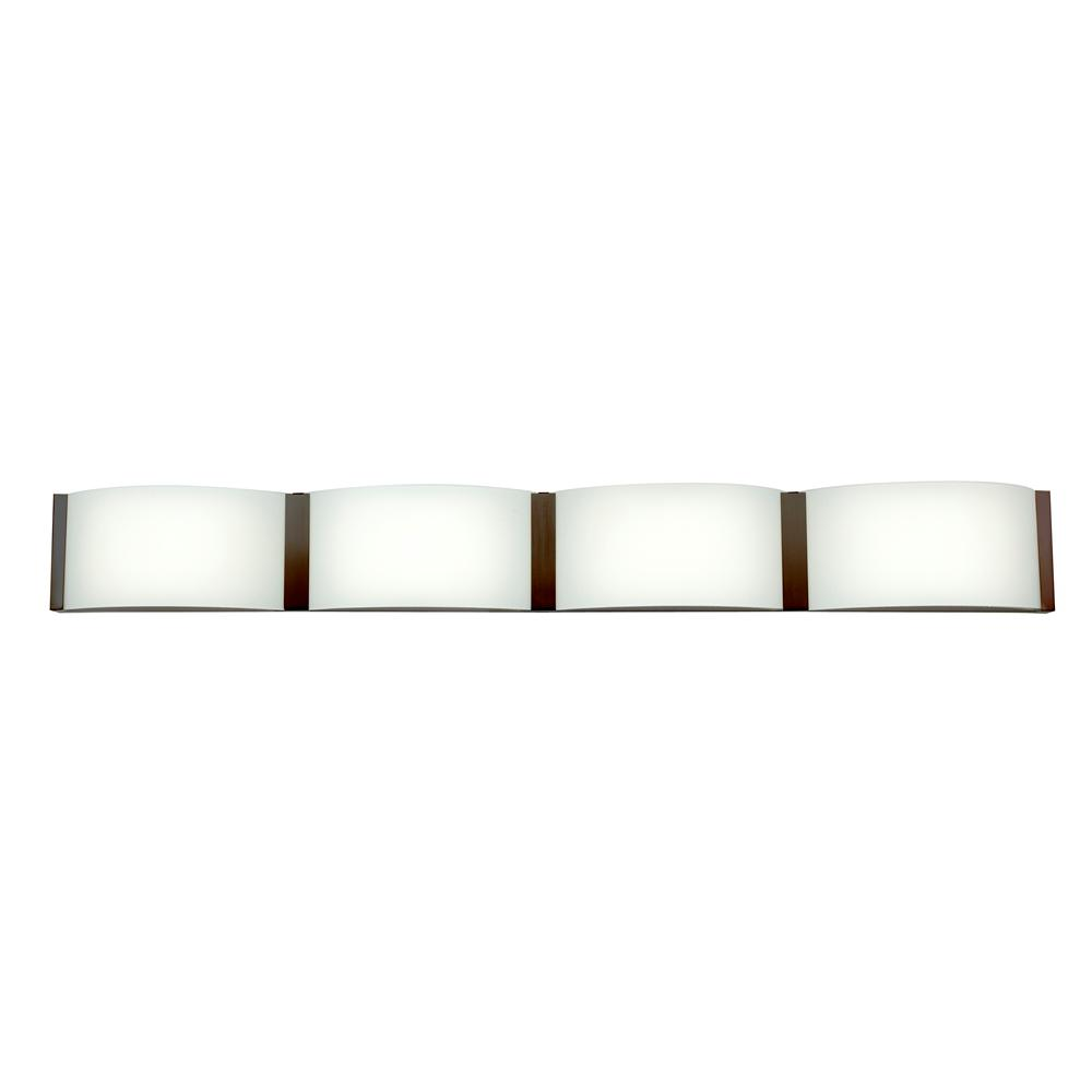 Access Lighting Wave 36 In 8 5 Watt Bronze Integrated Led Bath Light With Opal Shade