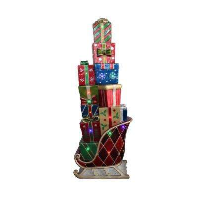 60 in. Christmas LED Lighted Commercial Grade Sleigh Stacked with Presents Fiberglass Decoration