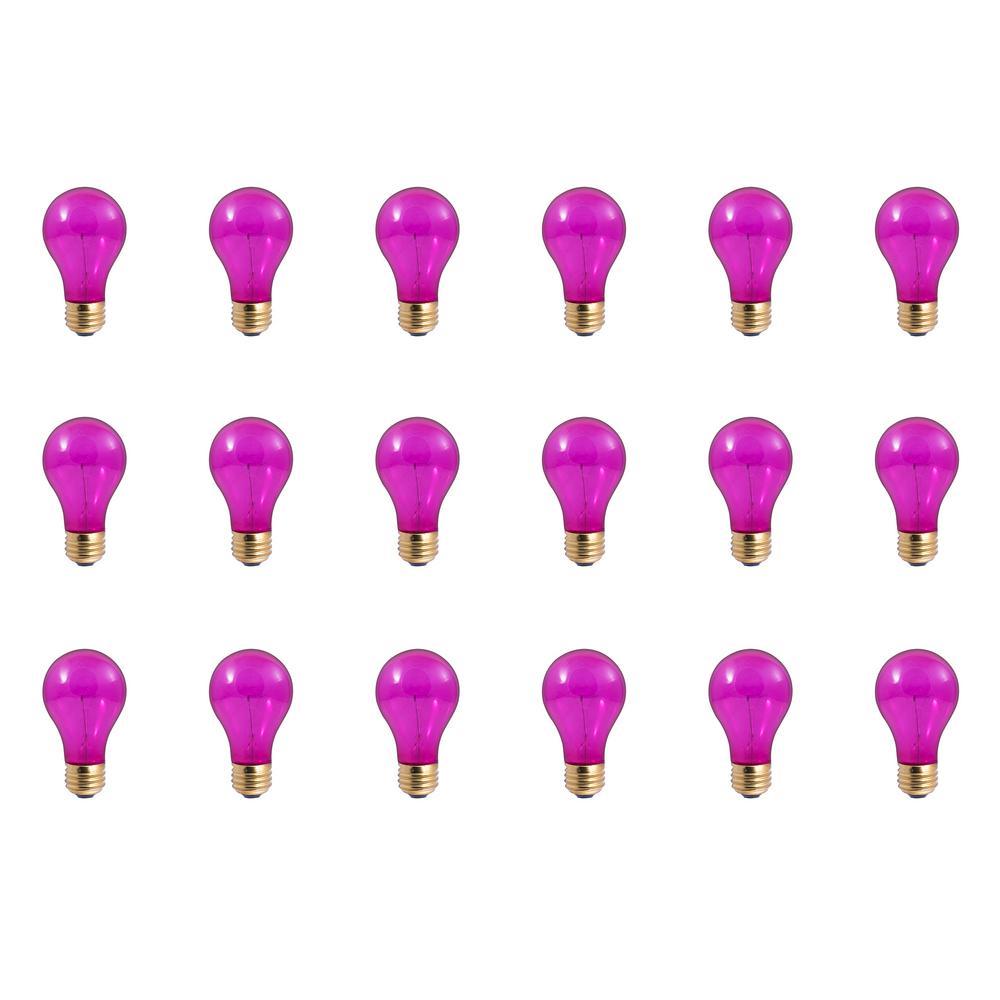 25-Watt A19 Transparent Pink Dimmable Incandescent Light Bulb (18-Pack)