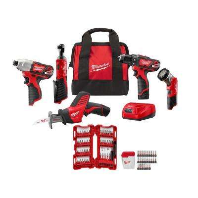 M12 12-Volt Lithium-Ion Cordless Combo Kit (5-Tool) with SHOCKWAVE Driver Bit Set (70-Piece)