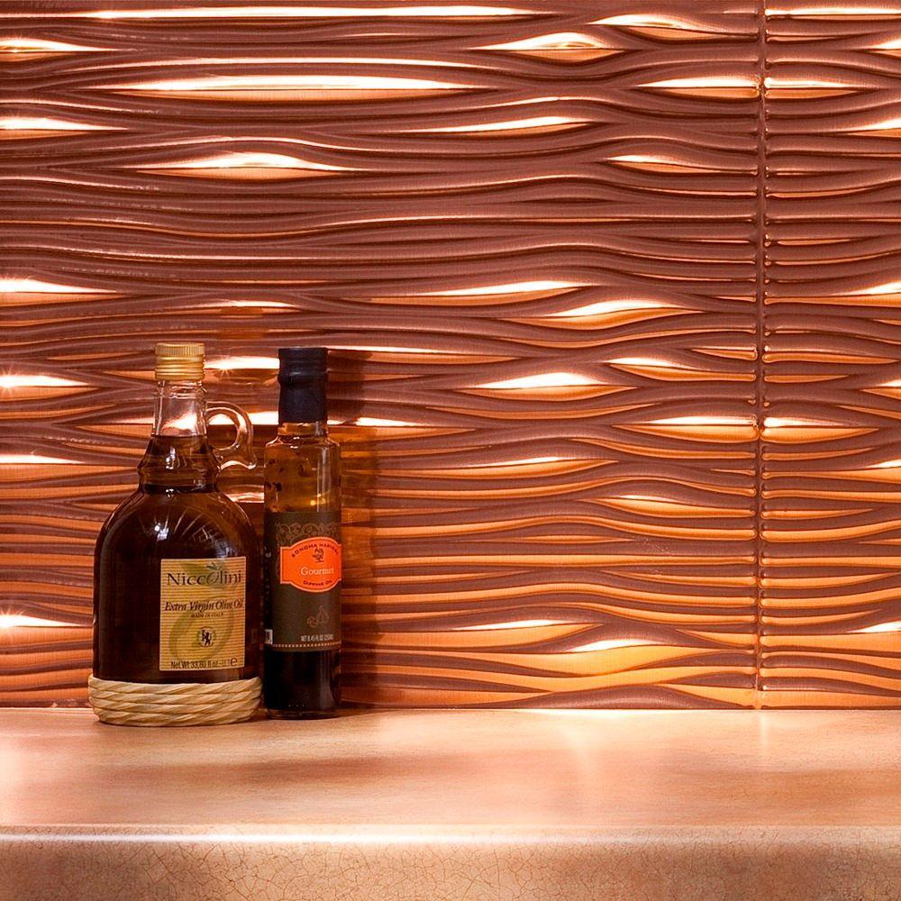 Fasade 24 in. x 18 in. Waves PVC Decorative Tile Backsplash in Polished Copper