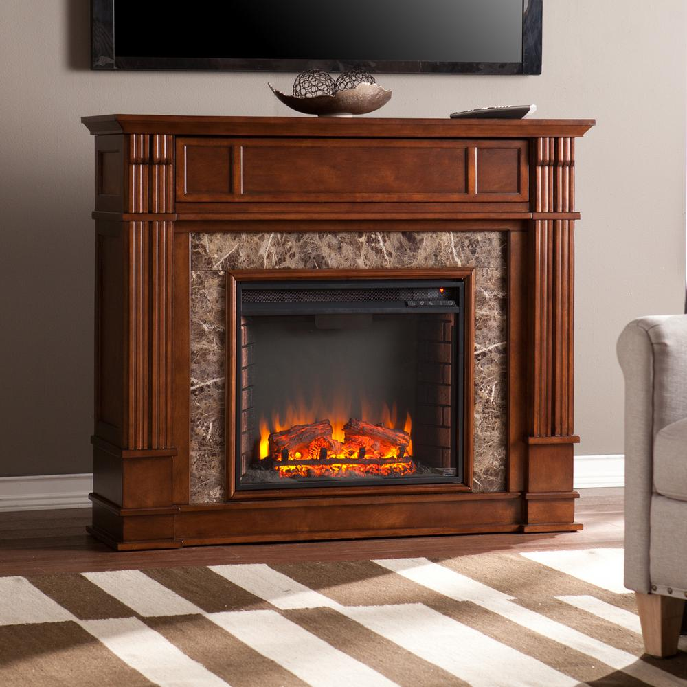 Astounding Southern Enterprises Rochester 48 In Faux Stone Electric Fireplace Tv Stand In Whiskey Maple Interior Design Ideas Oteneahmetsinanyavuzinfo