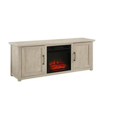 Camden Frosted Oak 58 in. Low Profile TV Stand with Fireplace Fits 60 in. with Cable Management
