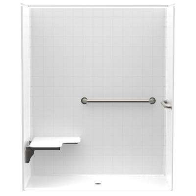 Accessible Smooth Tile AcrylX 60 in. x 30 in. x 74 1/4 in. 1PC Shower Kit, LH Seat, Grab Bars with Center Drain in White