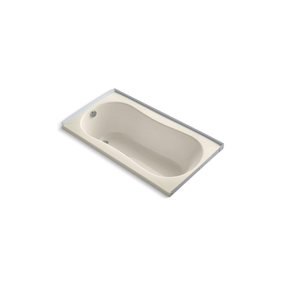 KOHLER 6032 5 ft. Left Drain Soaking Tub in Almond-DISCONTINUED