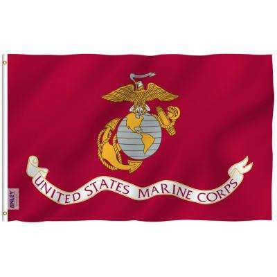 Fly Breeze 3 ft. x 5 ft. Polyester US Marines Flag 2-Sided Flag Banner with Brass Grommets and Canvas Header