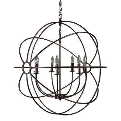 Shooting Star 7-Light Rustic Black Mini Chandelier
