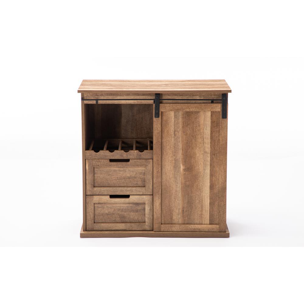 Weston Natural Sliding Barn Door Wine Cabinet