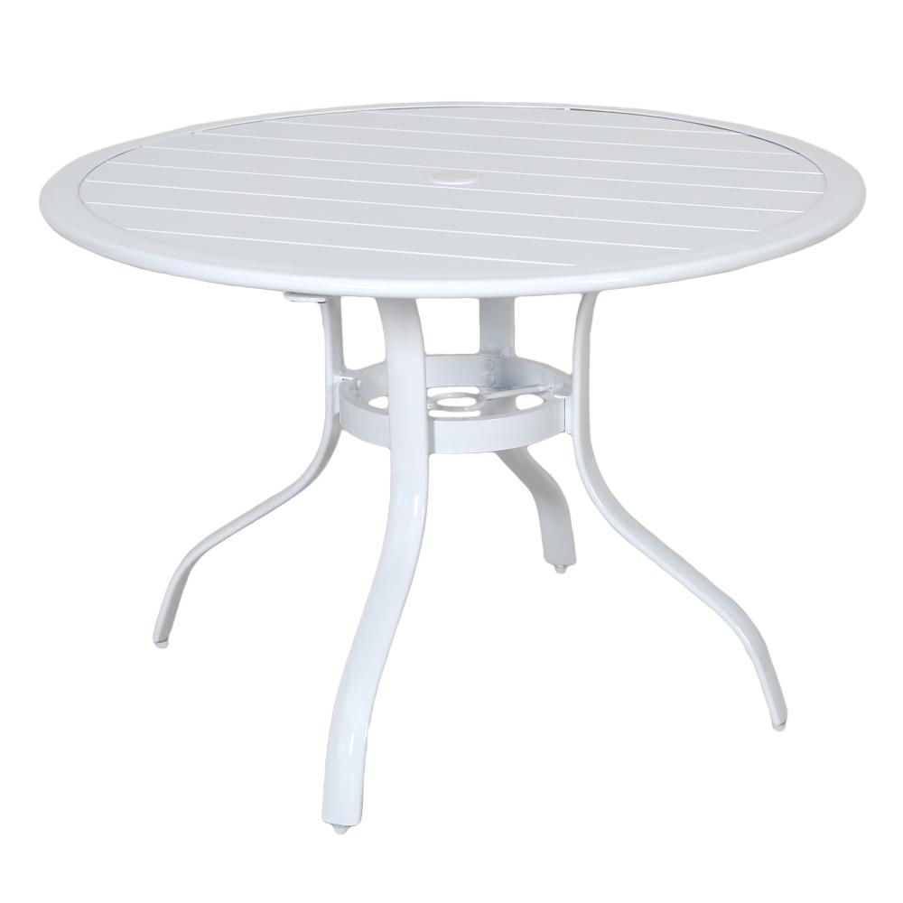 Round Outdoor Slat Top Dining Table In White