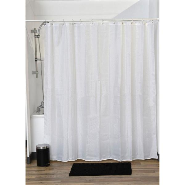 undefined Lux Polyester Rhinestone Fabric Shower Curtain White
