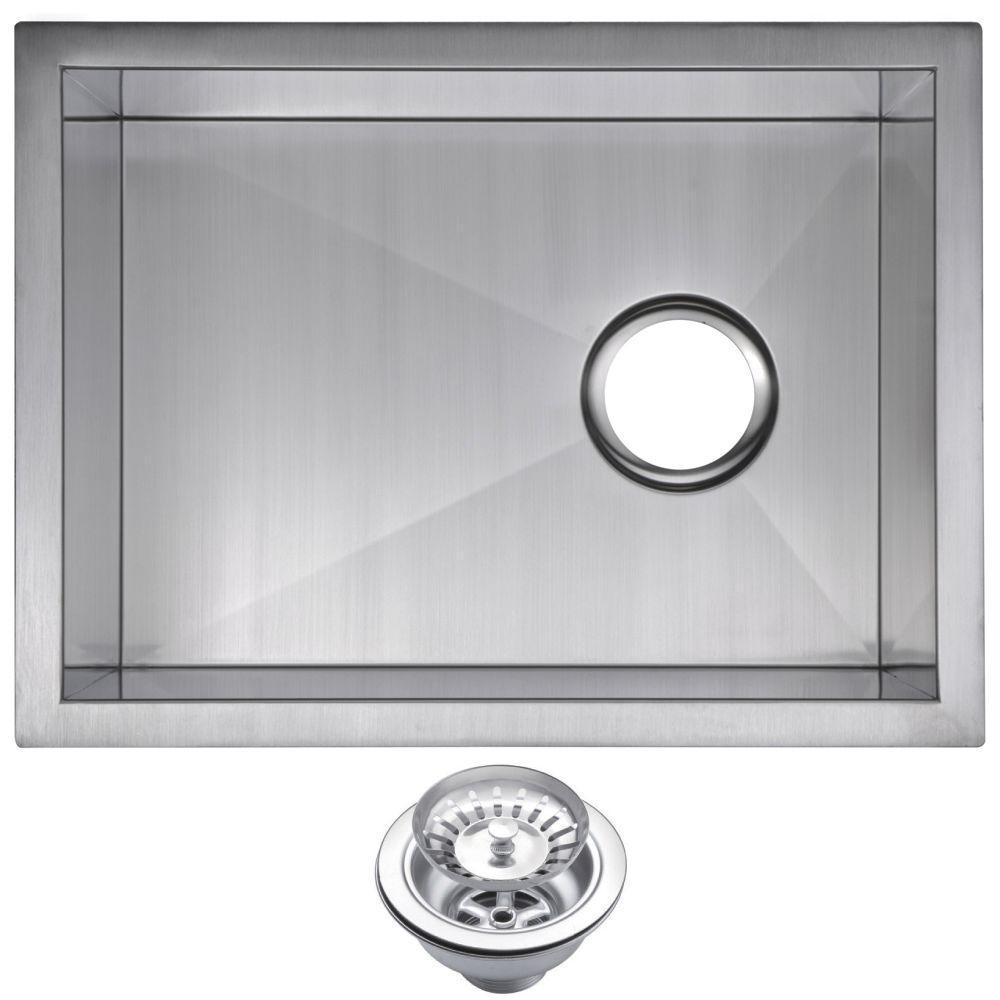 Undermount Zero Radius Stainless Steel 15x20x10 0-Hole Single Bowl Bar Sink with Strainer in Satin Finish