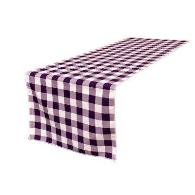 14 in. x 108 in. White and Purple Polyester Gingham Checkered Table Runner