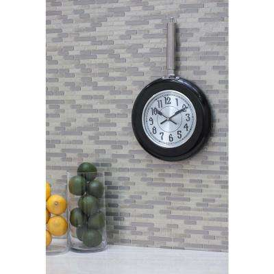 17 in. x 10 in. Blacks Frying-Pan-Inspired Round Wall Clock with Silver Face and Metallic Black Rim
