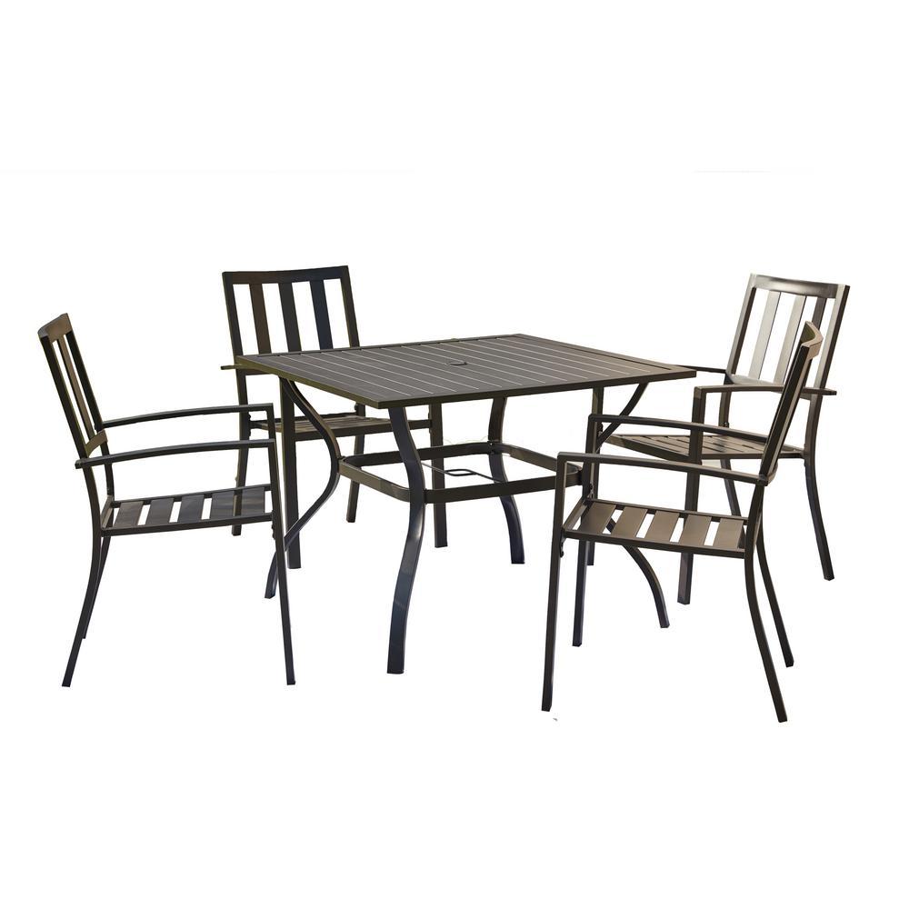 5-Piece Metal Round Outdoor Dining Set