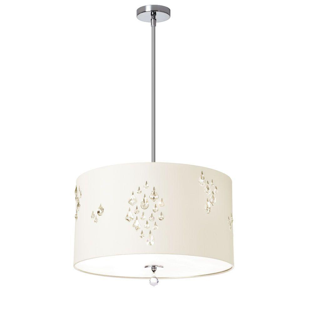 Rhiannon 3-Light Sliver Pendant with Ivory Baroness Drum Shade and Crystal
